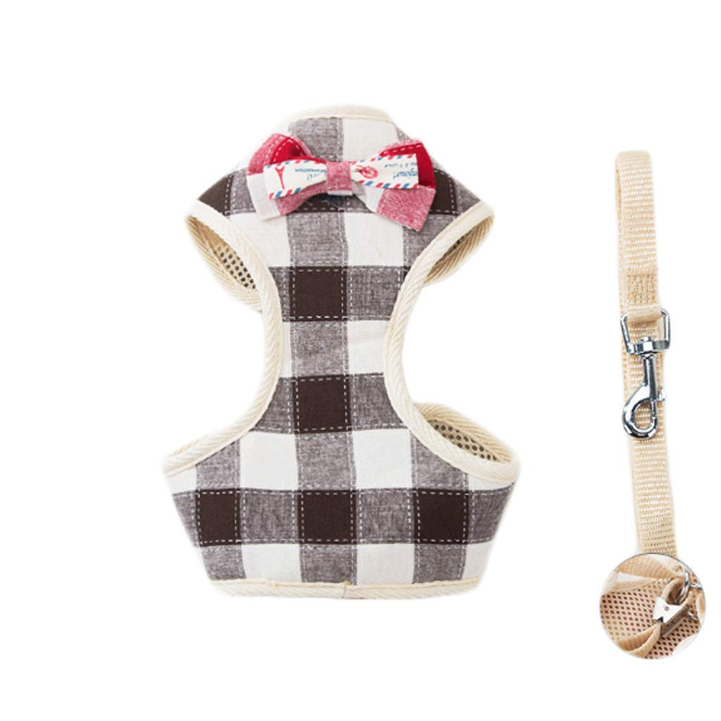 Black Rope+vest S Black Rope+vest S Small Size Plaid Vest Pet Leash Small Medium Dog Pet Supplies (color   Black Rope+Vest, Size   S)