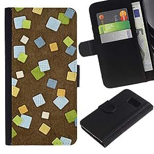 KLONGSHOP / Tirón de la caja Cartera de cuero con ranuras para tarjetas - Design Post It;; - Samsung Galaxy S6 SM-G920