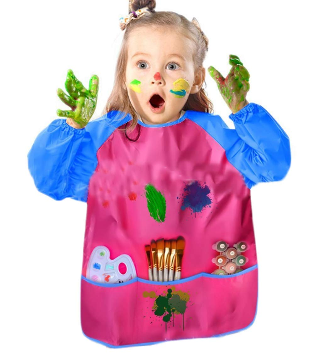 Tianve Children's Apron Art Painting Kindergarten Waterproof Gown Baby Anti-Wearing Eating Clothes (Rose red)
