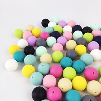 50pc 12mm Silicone Beads Loose Teething Chew Teething Teether Toy DIY Supplies : Baby