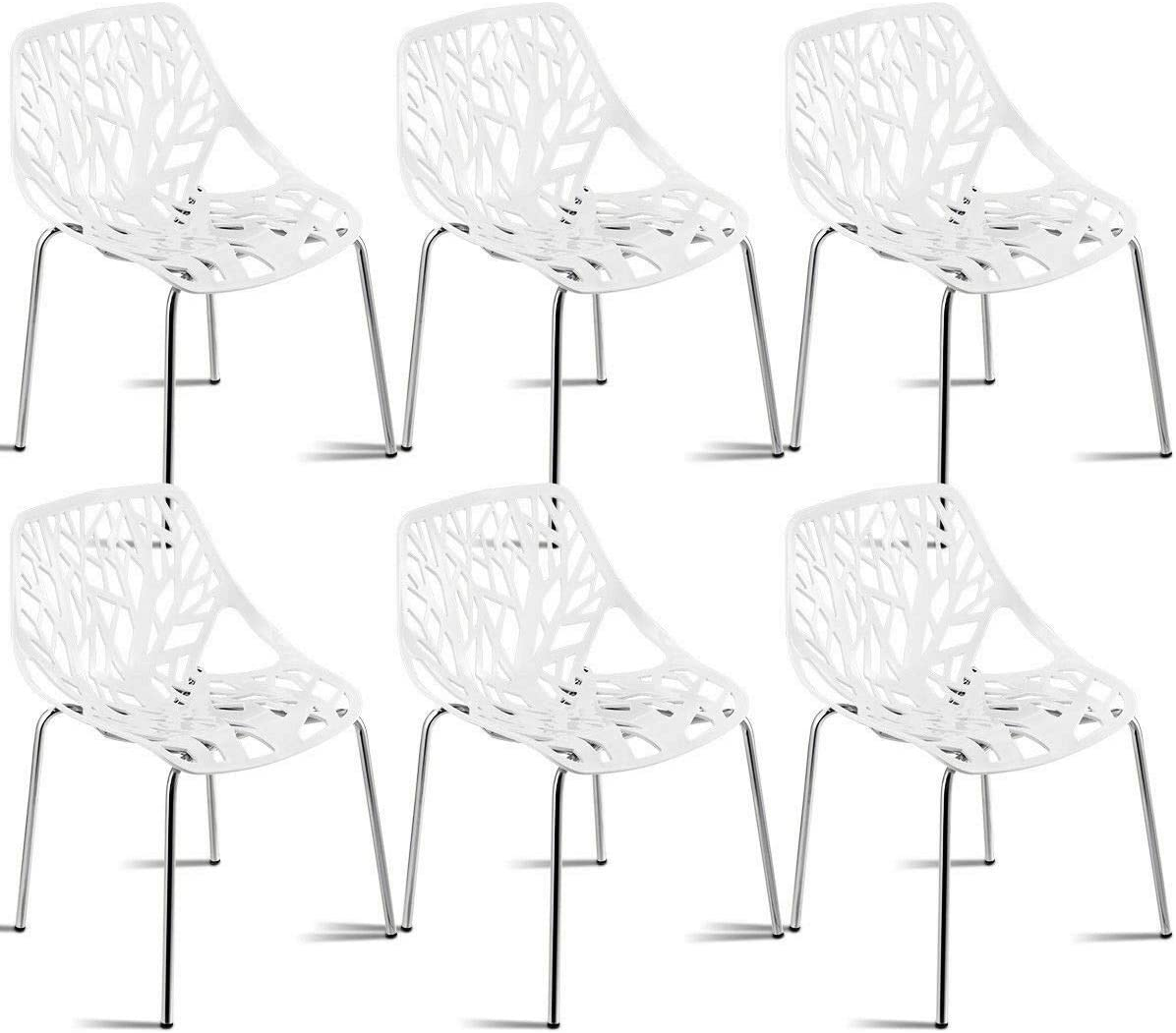 Giantex Set of 6 Modern Dining Chairs w Plastic Feet Pads Stackable Chair Geometric Style Furniture Dining Side Chairs 6 Packs, White