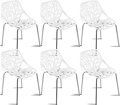 Giantex Set of 6 Modern Dining Chairs w/Plastic Feet Pads Stackable Chair Geometric Style Furniture Dining Side Chairs 6 Pack