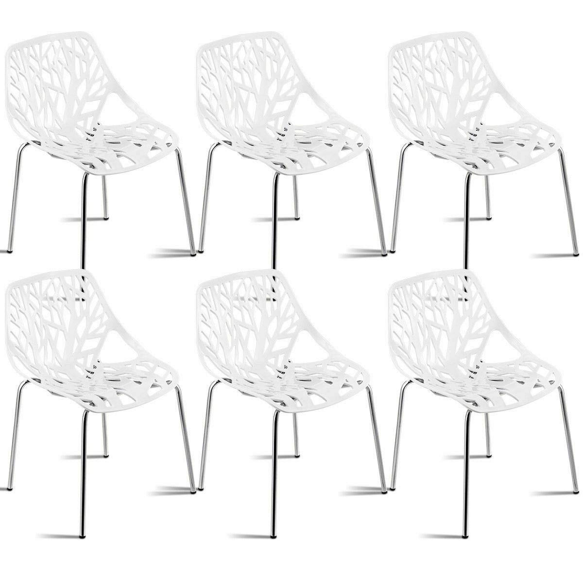 Giantex Set of 6 Modern Dining Chairs Birds Nest Set Modern Stackable Plastic Hollow-Out Geometric Style Furniture Outdoor Indoor Dining Side Chair (6 Packs, White)