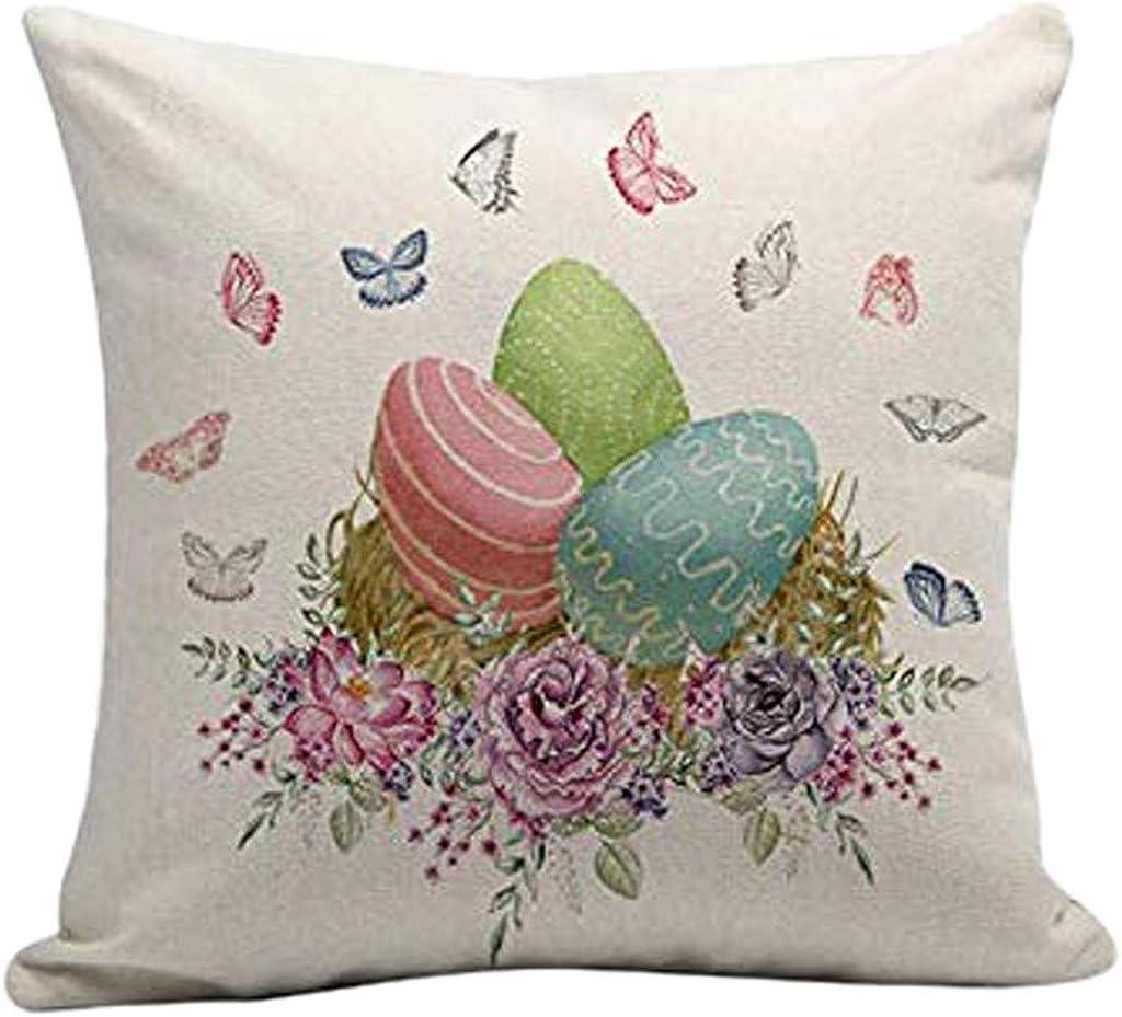 FEDULK Home Decorative Throw Pillowcase Easter Rabbie Cotton Linen Square Sofa Waist Comfortable Soft Cushion Cover
