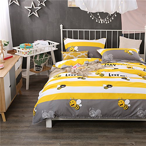 LELVA Cartoon Kids Bedding for Boys and Girls Duvet Cover Set Baby Bedding 4 Piece Cotton Bee Print Bedding Yellow (King, Flat Sheet Set) ()