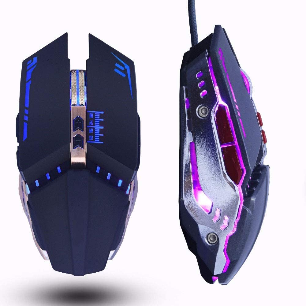 XUMINGSB Mouse Professional Player Gaming Mouse 8 d 3200 dpi Cool Adjustable Connection Optical Mouse USB Cable Game Artifact Laptop Color : B