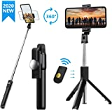 Selfie Stick, Extendable Selfie Stick Tripod with Detachable Wireless Remote and Tripod Stand Selfie Stick for iPhone X/iPhone 8/8 Plus/iPhone 7S9/S9 Plus/S8/S8 Plus/Note8,Huawei,More (Black)