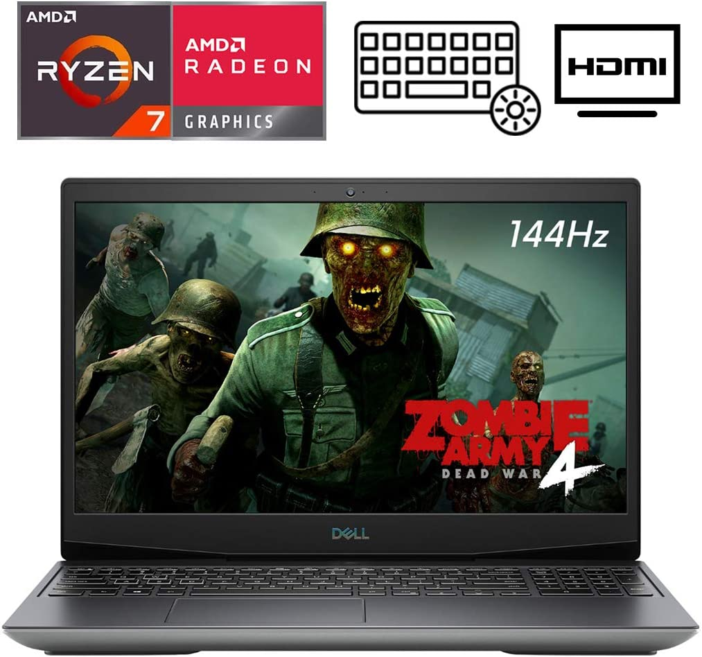 "Dell G5 15.6"" VR Ready FHD 144HZ Gaming Laptop, AMD Ryzen 7 4800H(Beat i7-10750H), RGB Backlit KB, USB-C, HDMI, Wi-Fi 6, Nahimic 3D Audio, AMD Radeon RX 5600M, Win 10 (32GB RAM 