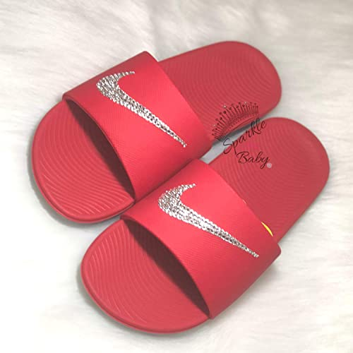 12868e4d89073 Nike Slide Kawa Women's Red ~ Swarovski Bedazzled Shoes Bling Nike  Customized for you by Sparkle Me Baby 2U