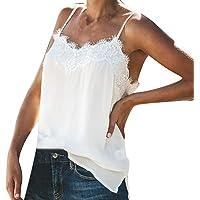 POLP Camiseta de Tirantes para Mujer Sexy Encaje Talla Grandes Chaleco Blanco Casual Fiesta Verano Tank Tops Mujer XXL…