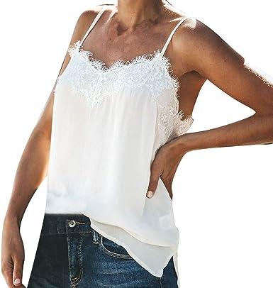 YWLINK Verano Mujeres Camisola De Encaje Color SóLido Arriba Camiseta Sin Mangas La Camisa Moda Casual Cuello En V Sexy Fiesta De Coctel Playa: Amazon.es: Ropa y accesorios