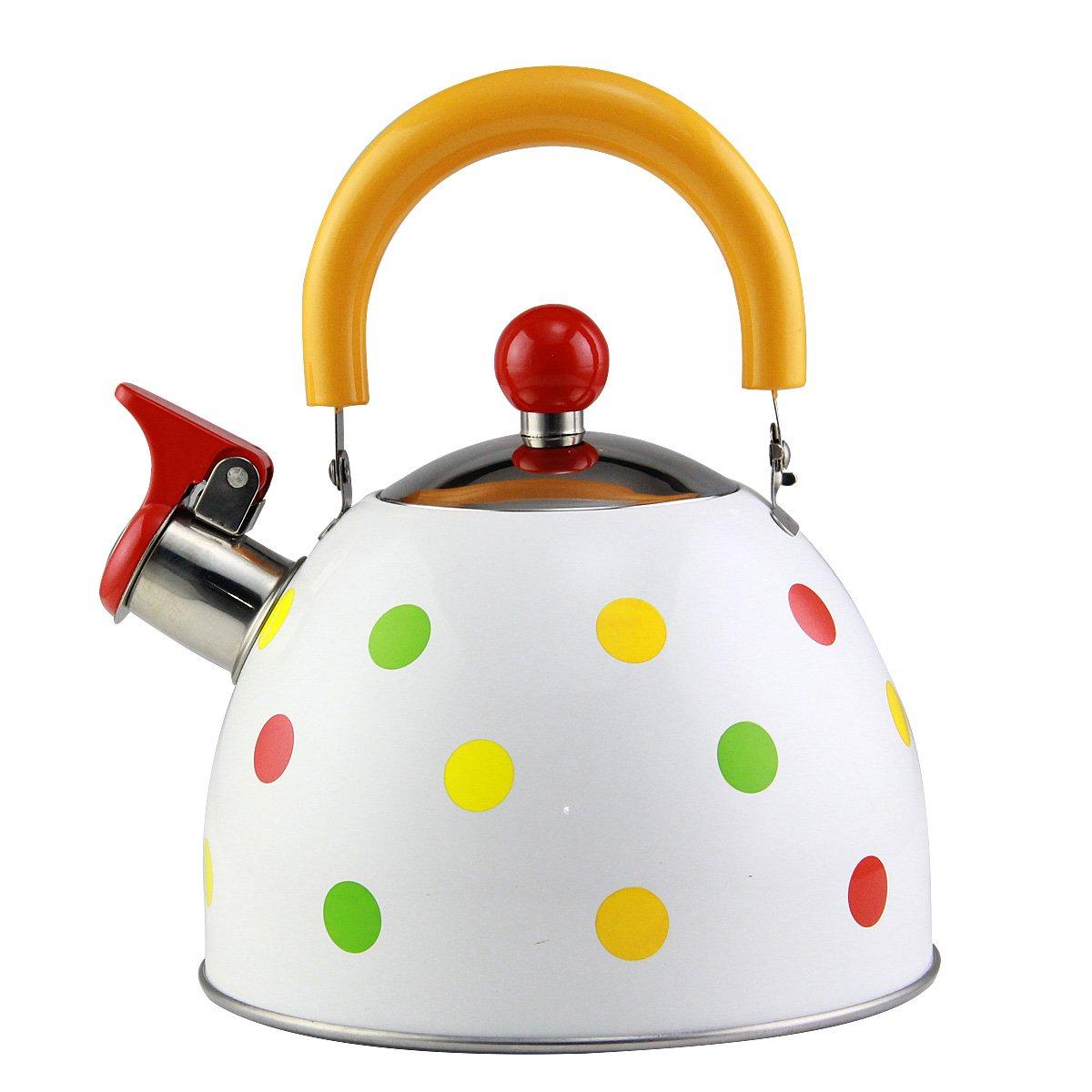 Riwendell 2.7 Quart Whistling Color Dot Tea Kettle Stainless Steel StoveTop Teapot (GS-04102-2.5L)