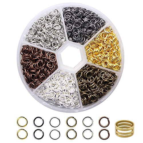Hysagtek Approx. 2000 Pcs Plated Open Jump Rings Kits Connector Charm Jewelry Findings for Jewelry Making DIY Crafts,with Jump Ring Open Tool,0.7 x 5mm,6 Colors