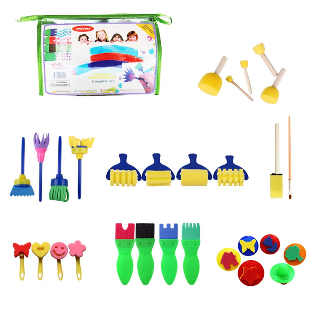 Deardeer Set of 29 Pcs Mini Foam Sponge Painting Brushes Kit Sponges Drawing Shapes Tools for Kids Early DIY Learning (Color May Vary)