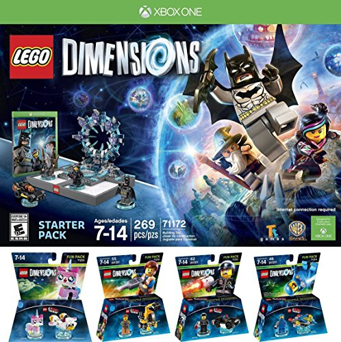 LEGO Dimensions Starter Pack for Xbox One PLUS LEGO Movie Bundle with Emmet 71212, Bad Cop 71213, Benny 71214, and UniKitty 71231 by One Liberty Corner