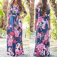 WensLTD Womens Half Sleeve Printing V Neck Wrap Long Maxi Dress with Belt (S, Dark Blue)