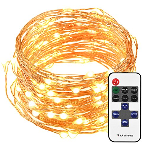 Decorative Led Lights (Cymas LED String Lights, 33ft 100 LED Waterproof Decorative Lights Dimmable with Remote Control for Indoor and Outdoor, Bedroom, Patio, Garden, Wedding, Parties, UL Listed (Warm White))