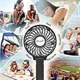 VersionTECH. Mini Handheld Fan, USB Desk Fan, Small Personal Portable Table Fan with USB Rechargeable Battery Operated Cooling Folding Electric Fan for Travel Office Room Household Black