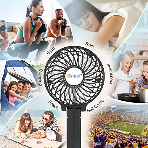 Mini Handheld Fan, VersionTECH. USB Desk Fan, Small Personal Portable Stroller Table Fan with USB Rechargeable Battery Operated Cooling Folding Electric Fan for Travel Office Room Household Black