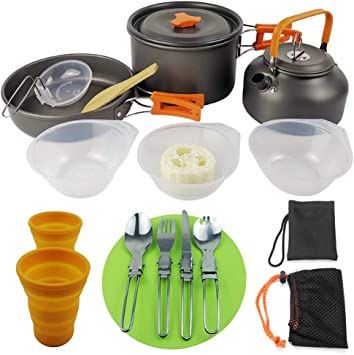 Camping Ustensiles de Cuisine Set Camping Vaisselle Pliable Camping Pots potable bouteilles