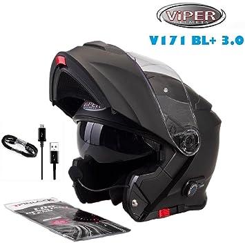 Viper V151 Casco de la motocicleta Bluetooth Casco Casques modulables Negro Mate (M)
