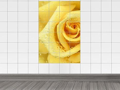Piastrelle adesivo piastrelle stampa su rosa gialla con taglio a
