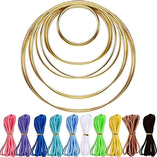 Hestya 10 Pieces Metal Rings Hoops with 10