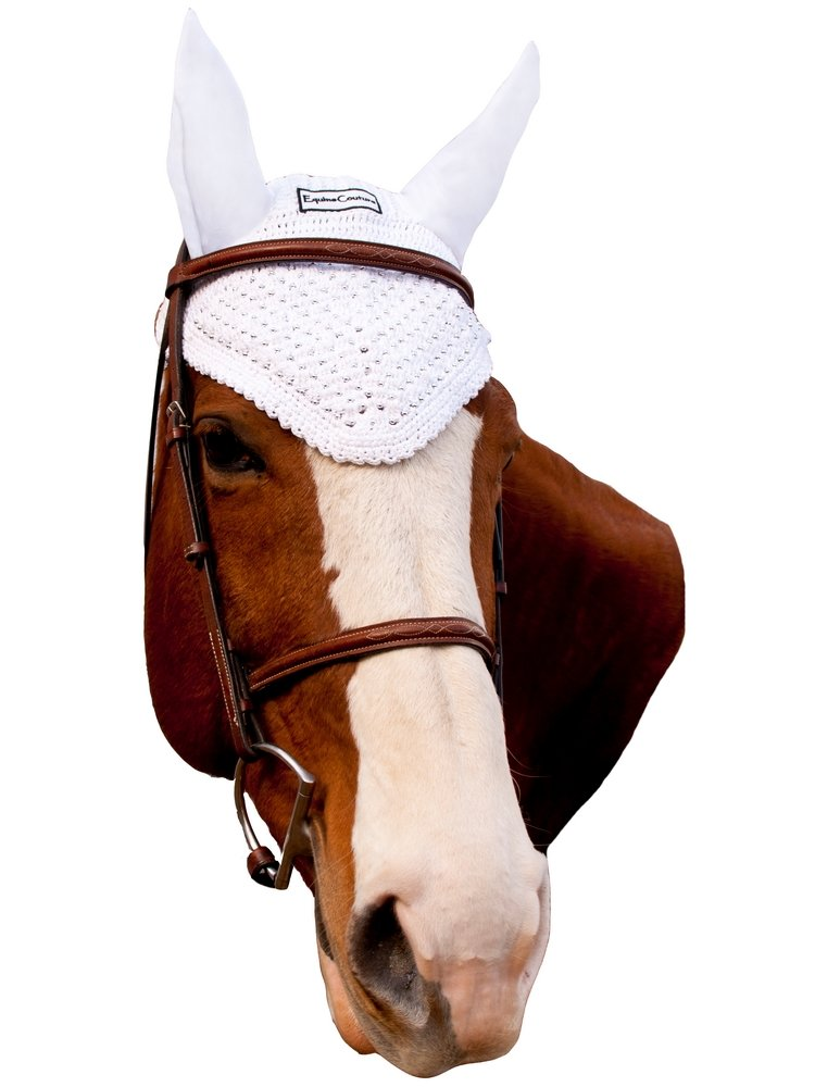 Equine Couture Fly Bonnet - Pony Sizes Available | Color - White, Size - Cob