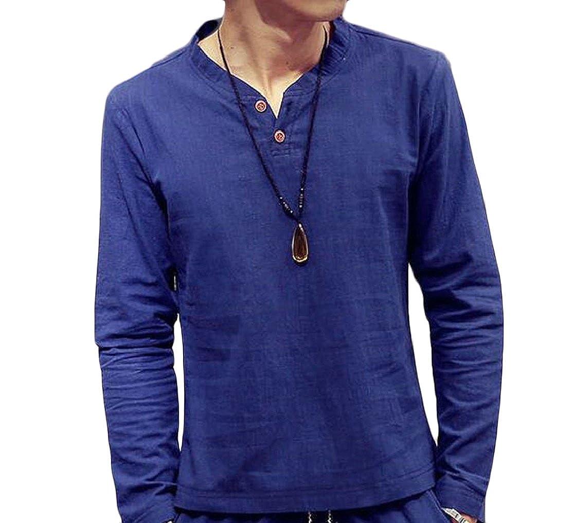 M/&S/&W Mens Fashion Casual Basic Long Sleeve Henley T-Shirts