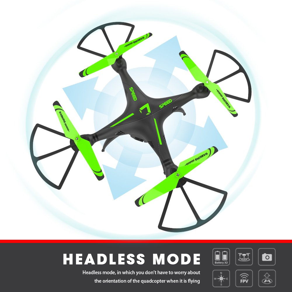 FPV RC Quadcopter Drone with Camera - Honor-Y One Key Land and Headless Mode 720P HD Camera Mobile WiFi Connection Helicopter Drones for Beginners ( Green )