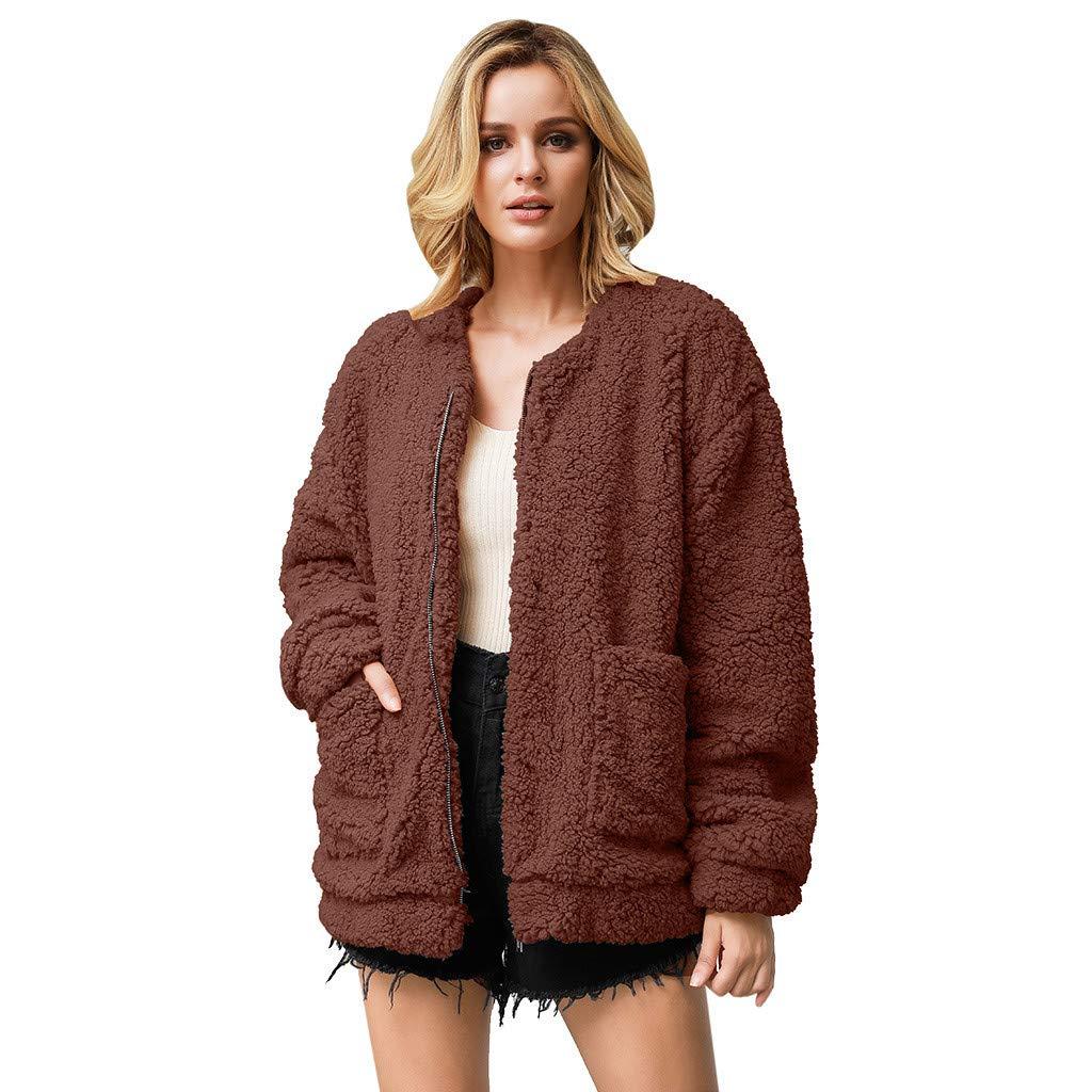 Cuekondy Women Fuzzy Fleece Coat Winter Warm O-Neck Zipper Pocket Jacket Outwear With Long Faux Fur Scarf