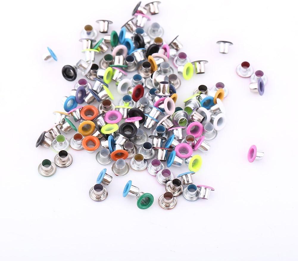 Ojales metálicos (500 unidades, 3 mm, redondos), colores variados