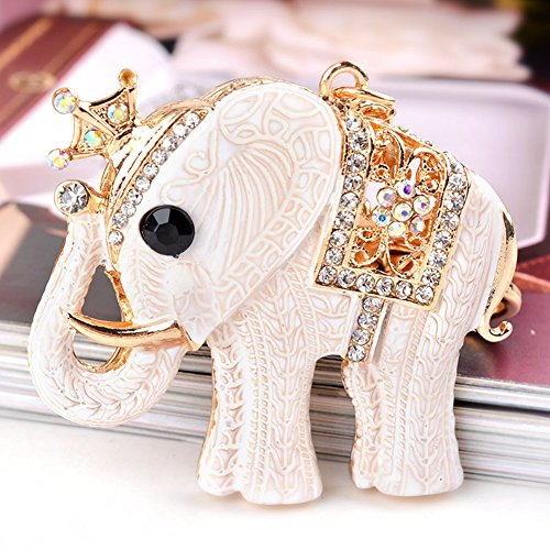 Women Rhinestone Keychain ,USATDD Lucky Elephant Key chains Crystal Pendent Bling Clothing Accessories Handbag Decoration Sparkling Keyrings For Purse Bag Charm With Gift Box