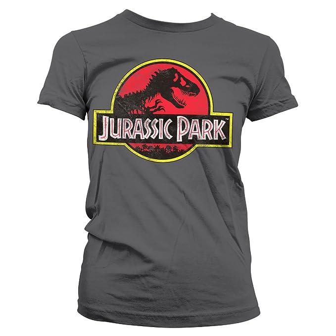Oficialmente Licenciado Jurassic Park Distressed Logo Mujer Camiseta (Gris Oscuro), Small