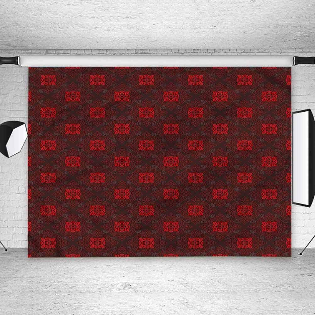 5x5FT Vinyl Backdrop Photographer,Maroon,Japanese Cultural Tile Background for Baby Shower Bridal Wedding Studio Photography Pictures