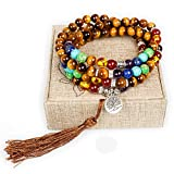 Mala Beads,108 Tiger Eye Gemstone Stone Wrist Mala Bracelet Necklace Tibetan Buddhist Prayer Bead(Tiger Eye,Tree)