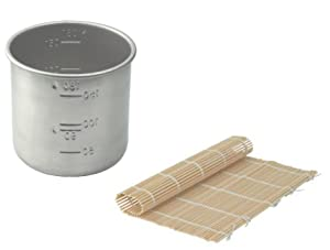 Stainless Steel Rice Measuring Cup + Bamboo Sushi Roller Mat Pad Replacement for Japanese Electric Rice Cooker (Rice Cup + Bamboo Roller)