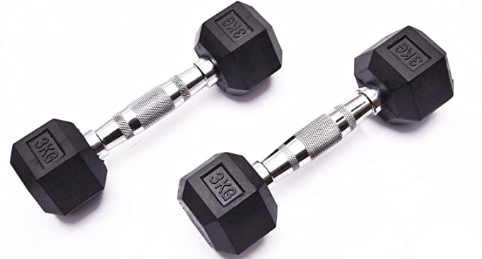 Par de mancuernas hexagonales de goma, de 1 kg a 10 kg, para hacer ejercicio, entrenamiento, fitness, en gimnasio o en casa (1 kg, 2 kg, 3 kg, 4 kg, 5 kg, ...