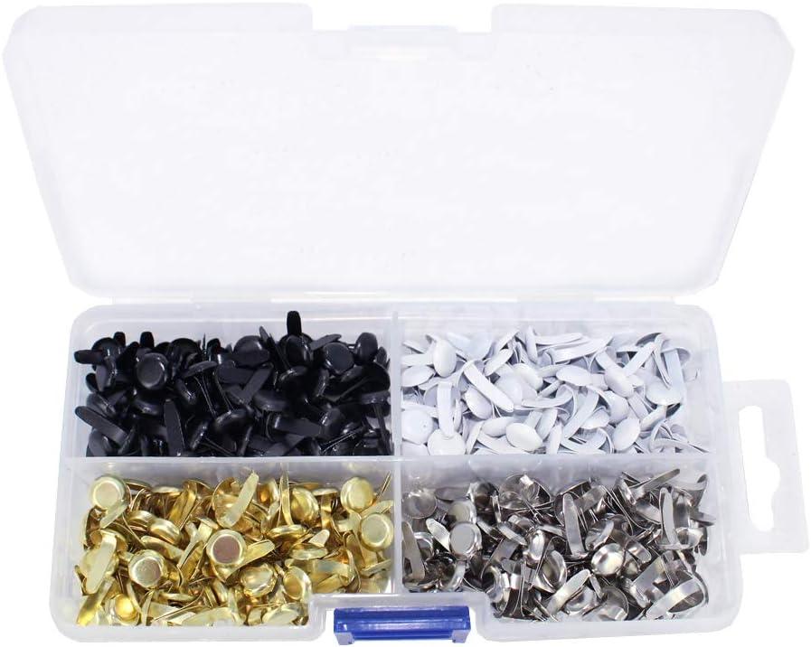 4Colors 8mm Metal Brads Paper Fastener Brads for Scrapbooking Crafts Making DIY Art ARTCXC 1Box Black,White,Goldren,Silver,Each Color 100Pcs 400pcs