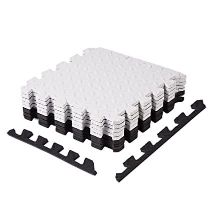 Zerodis 18 Pcs EVA Cushioned Foam Floor Tiles Kids Play Room Sport Exercise Floor Mat High Quality Interlocking Tiles Anti Fatigue Extra Thick Children Play Mat for Home Kitchen Living Room Bed Room