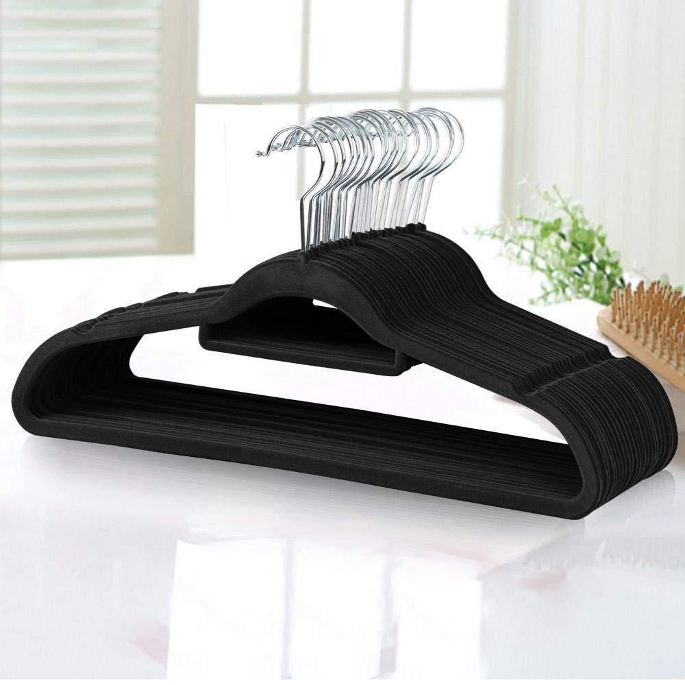 MUQU Non Slip Velvet Coat Hangers - Slim Flocked Wardrobe Coathanger for Clothes, Trouser, Scarf, Suit - BEIGE - 10 Hangers MUQUTM