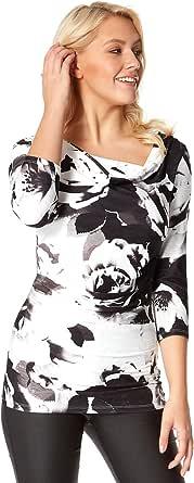 Roman Originals - Camiseta de manga 3/4 para mujer, diseño de flores