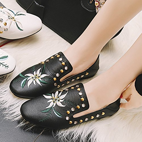 Flower Black Women Oxfords Sandals Rivet Casual toe Shoes Btrada Flats Embroidered Pointed Boat 8q71w446x