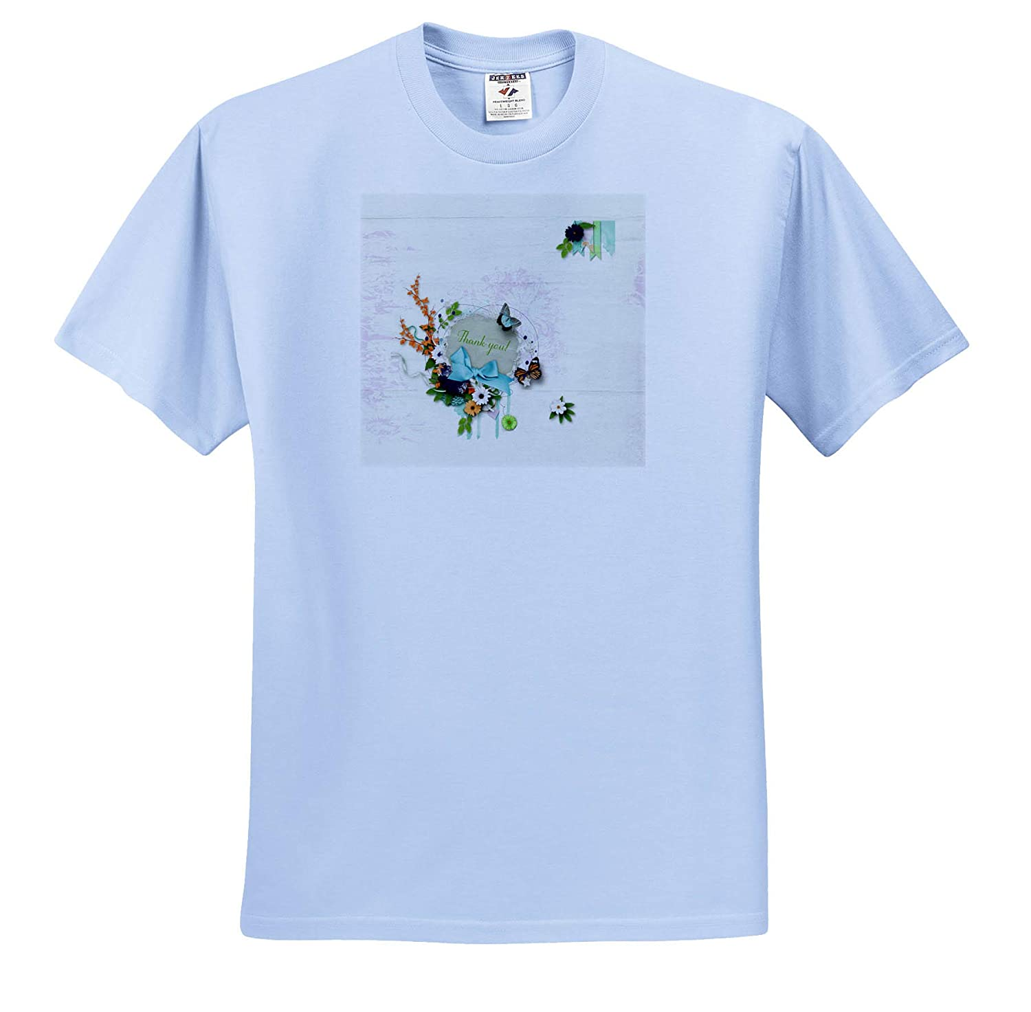 3dRose Beverly Turner Thank You Design Bow Image of Thank You Oval Frame of Flowers and Butterflies T-Shirts