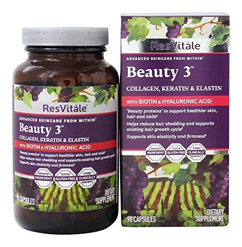 Collagen Enhancer - ResVitale - Beauty 3 Collagen, Keratin & Elastin Formula - 90 Capsules