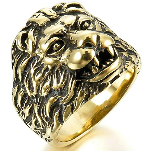 Aooaz Stainless Steel Ring For Men Gold Lion Head Royal Wedding Band Retro Promise Ring Polisehd Punk - Shape Men Diamond Head