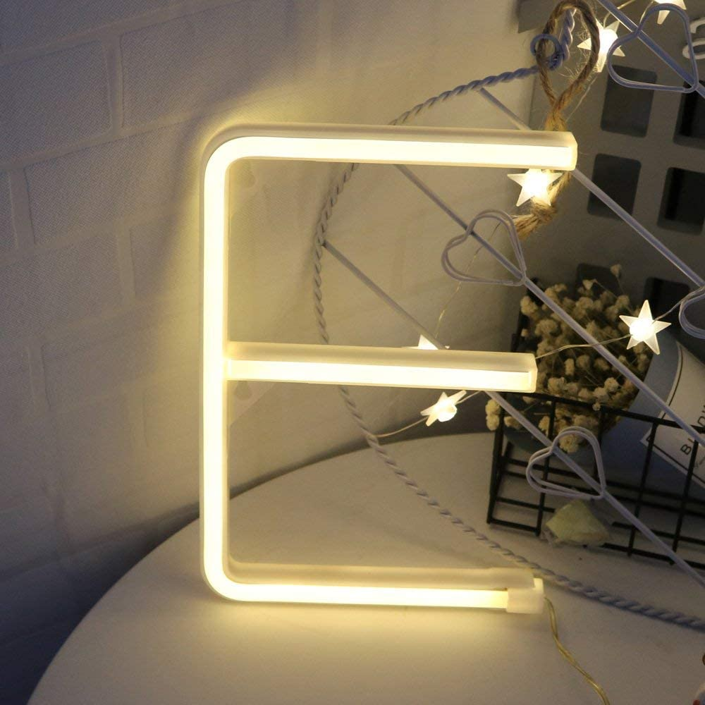 C LED Warm White Alphabet Neon Art Lights Neon Letter Sign Night Lights Battery//USB Operated Neon Letter Light Wall Decor Light up Words for Wedding Birthday Party Christmas Home Bar Decoration