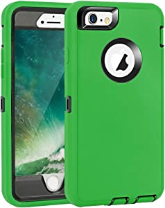 "iPhone 6 Plus/6S Plus Case, Maxcury Heavy Duty Shockproof Series Case for iPhone 6 Plus /6S Plus (5.5"") with Built-in Screen Protector Compatible with All US Carriers (Green/Black)"