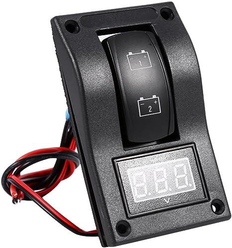 Interrupteur /à Bascule pour Panneau de Test de Batterie Voltm/ètre Voiture 12V de Panneau de Test de Batterie /à R/étro/éclairage LED pour Bateau de Voiture