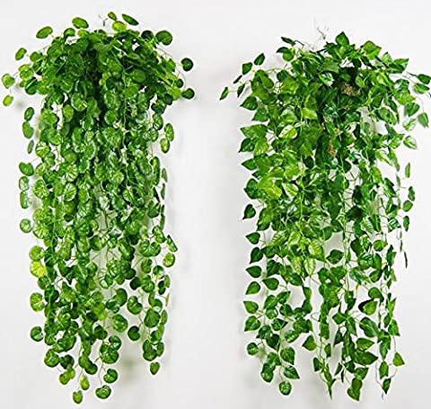 4 Bunches Green Artificial Silk Hanging Vine Plant Leaves for Home Garden Outdoor Wall Decoration (Outdoor Decor)